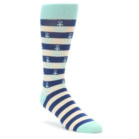 Novelty Anchor Socks in Aqua and Navy