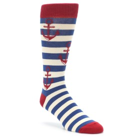 Red Navy Nautical Anchor Socks for Wedding Groomsmen