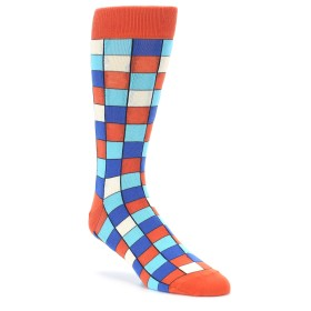 Sunset Orange Checkered Socks