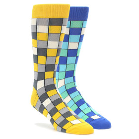 Yellow Blue Checkered 2 Pack Socks