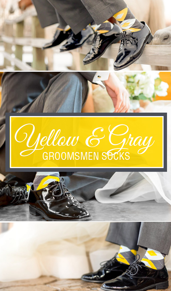 Yellow and Gray Groomsmen Socks