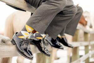 Yellow and Gray Groomsmen Socks