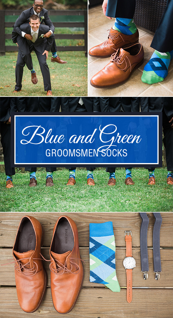 Blue and Green Wedding Socks