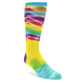 Yellow Mult Color Men's Tie Dye Socks