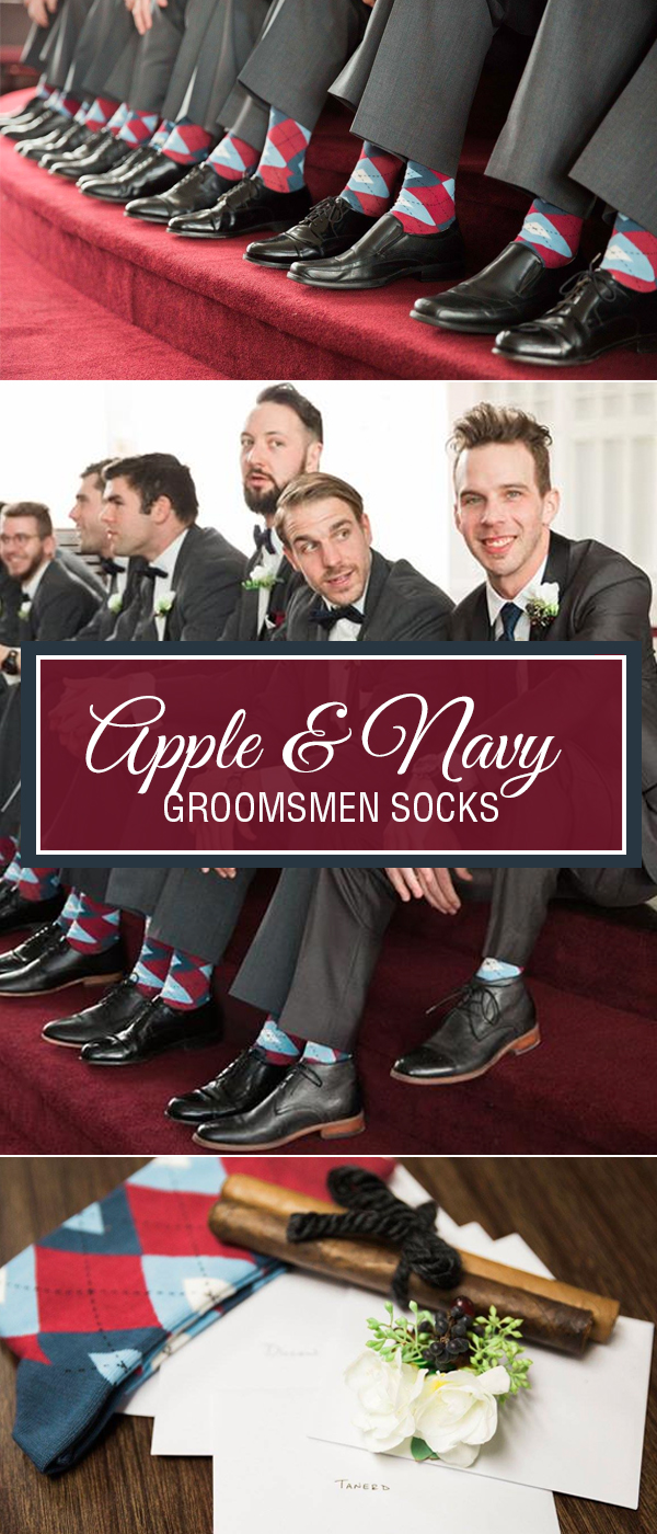 Apple Red and Navy Wedding Socks