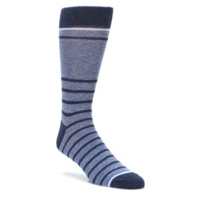 Blue-Navy-Heathered-Stripe-Mens-Dress-Socks-Statement-Sockwear