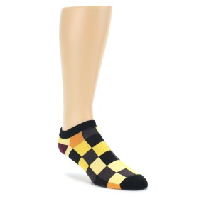 Yellow Checkered Ankle Socks by Good Luck