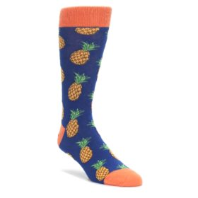 Navy-Orange-Pineapple-Fruits-Mens-Dress-Socks-Socksmith