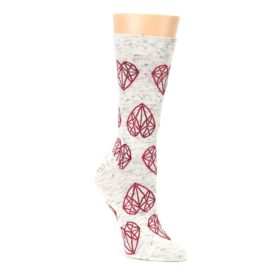 Grey Red diamond women's dress socks by ballonet