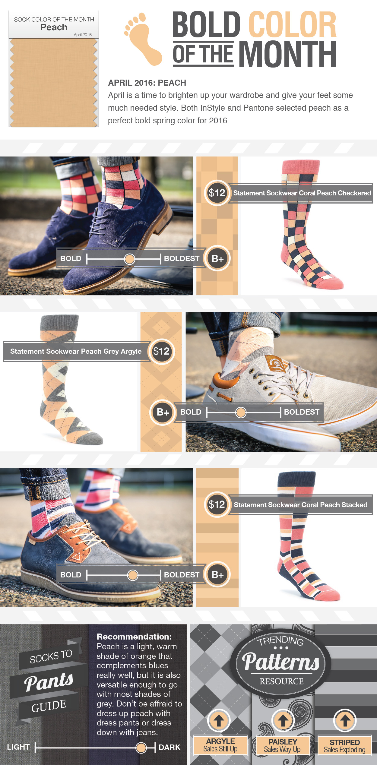 Brilliant Peach Socks for Spring