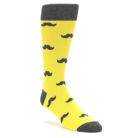 Bright Yellow Mustache Socks for Weddings by boldSOCKS