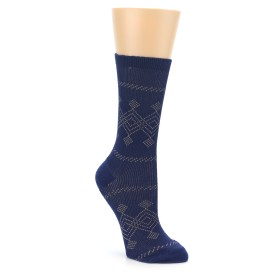22776-Navy-Diamond-Pattern-Womens-Dress-Socks-Richer-Poorer01