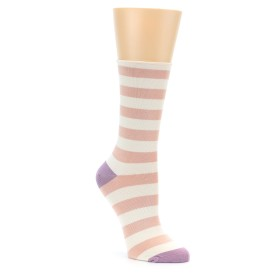 Women's Pink and Cream Stripe Socks