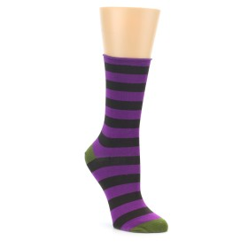 Purple Bamboo Stripe Socks for Women
