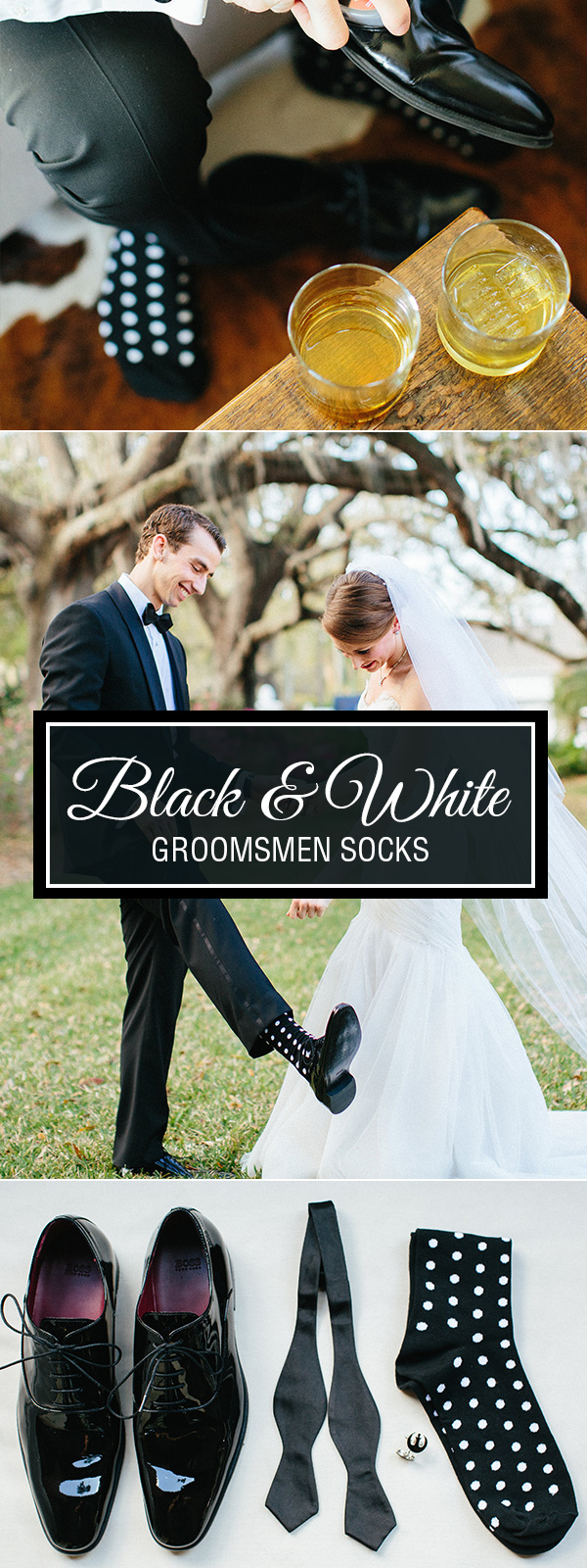 Black and White Polka Dot Groomsmen Socks