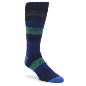 Navy Green Paisley Stripe Men's XL Dress Socks