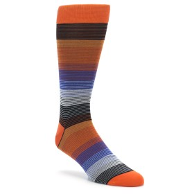 Extra Large Orange Blue Grey Stripe Men's XL Dress Socks