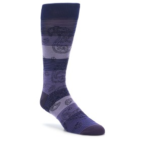 Extra Large Purple Paisley Stripe Men's XL Dress Socks