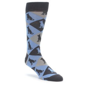 Blue Argyle German Shepherd Dog Socks for Men