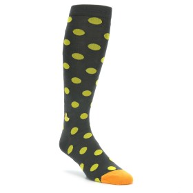 Grey Yellow Over the Calf Polka Dot Socks Knee High Socks for Men