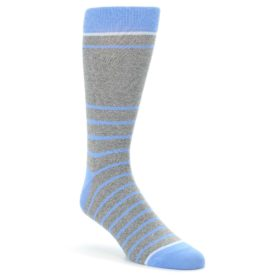 Gray-Blue-Heathered-Stripe-Mens-Dress-Socks-Statement-Sockwear