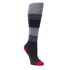 Gray-Navy-Popcorn-Cable-Wool-Womens-Knee-High-Socks-Smartwool