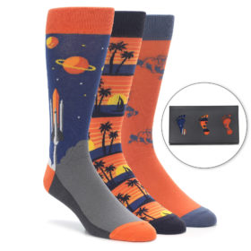 Men's Novelty Dress Socks with spaceships, palm trees, bulldogs.