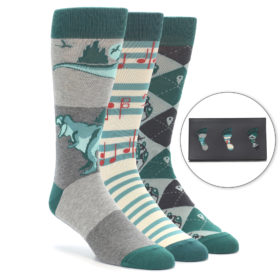 Teal Novelty Men's Dress Sock Gift Box