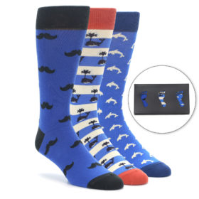 Men's Blue Novelty Dress Sock Gift Box 3 Pairs