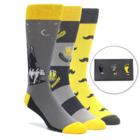 Yellow Grey Novelty Men's Dress Sock Gift Box