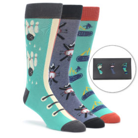 Men's Novelty Winter Hobbies Dress Sock Gift Box