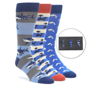 Sea Creatures Novelty Men's Dress Sock Gift Box