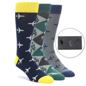Men's Travel Novelty Dress Sock Gift Box