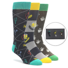 Men's Novelty Happy Hour Dress Sock Gift Box
