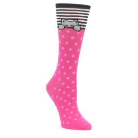 Pink Peek-a-Boo Cat Socks for Women