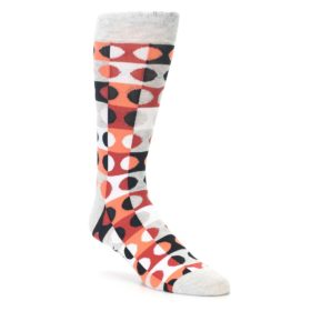 23449-Grey-Orange-Dots-Mens-Dress-Socks-K-Bell-Socks01