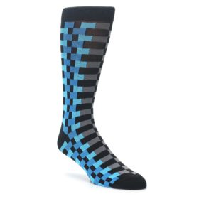 23452-Grey-Black-Blue-Checker-Mens-Dress-Socks-K-Bell-Socks01