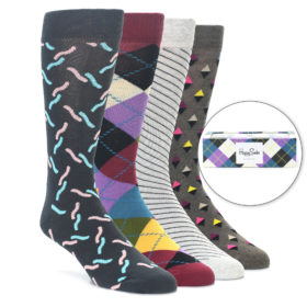 Happy Socks Purple Argyle Gift Box for Men