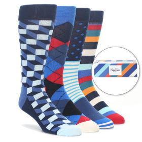 Happy Socks Navy Orange Red Gift Box for Men
