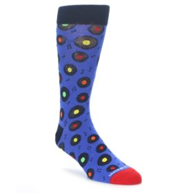 23460-Blue-Multi-Music-Records-Mens-Dress-Socks-Unsimply-Stitched01