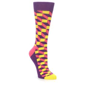 23474-Purple-Pink-Yellow-Optical-Womens-Dress-Socks-Happy-Socks01