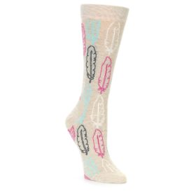 23499-Light-Tan-Feather-Design-Womens-Dress-Socks-Happy-Socks01