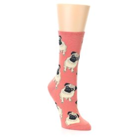 Coral Pug Dog Socks for Women