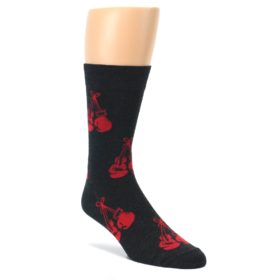 Charcoal-Red-Boxing-Gloves-Mens-Dress-Sock-Good-Luck-Socks