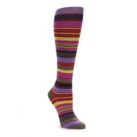 Purple and Yellow Multicolor Stripe Women's Knee High Socks