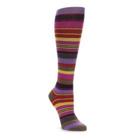 Purple and Yellow Multicolor Stripe Women's Knee High Socks
