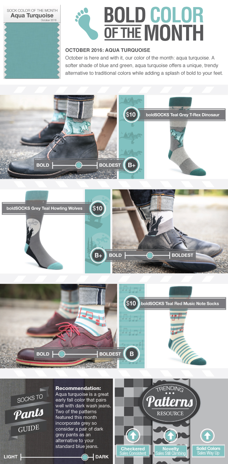 October Sock Color of the Month: Aqua Turquoise