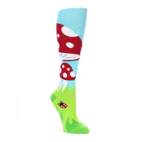 Green, red, blue and white toadstool mushroom women's knee high socks