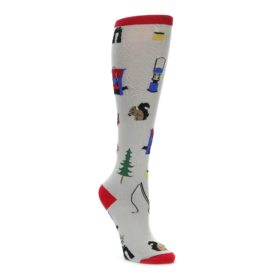 Light gray camping women's knee high socks. Featuring squirrels, backpacks, and trees.