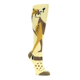Brown, tan, yellow cheetah women's knee high socks